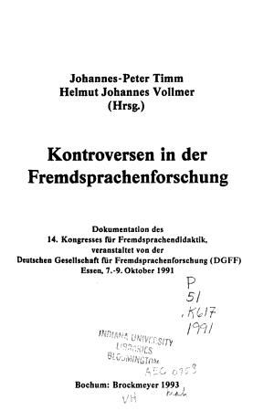 Kontroversen in der Fremdsprachenforschung PDF