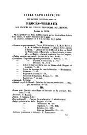 Procès-verbaux des séances du Conseil de la Province de Limbourg