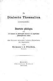 De dialecto Thessalica commentatio