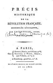 Précis historique de la Révolution française. Assemblée législative