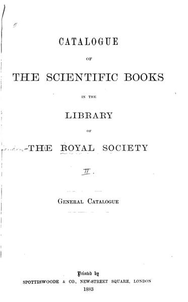 Download Catalogue of the Scientific Books in the Library Book