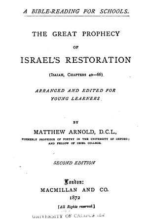 The Great Prophecy of Israel s Restoration