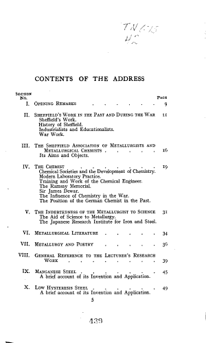 Work and Postion of the Metallurgical Chemist, Also References to Sheffield and Its Place in Metallurgy