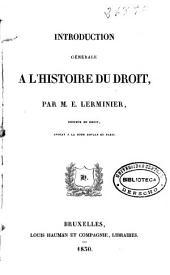 Introduction générale a l'histoire du droit