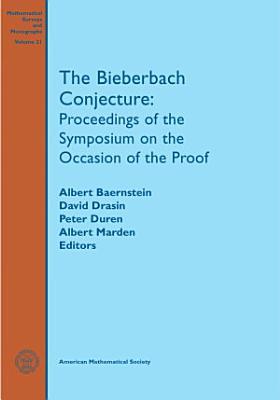 The Bieberbach Conjecture PDF
