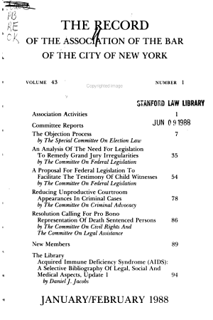 The Record of the Association of the Bar of the City of New York PDF