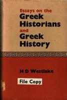Essays on the Greek Historians and Greek History PDF