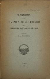 Fragments d'un inventaire du trésor de l'Abbaye de Saint-Victor de Paris
