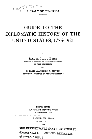 Guide to the Diplomatic History of the United States  1775 1921 PDF