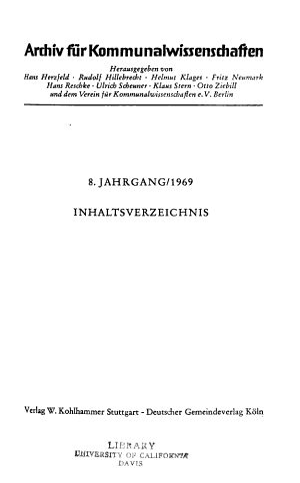 AArchiv fur Kommunalwissenschaften PDF