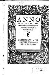 Annotationes Philippi Melanchthonis in Epistolam Pauli ad Rhomanos unam, Et ad Corinthios duas