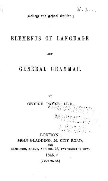 Elements of Language and General Grammar PDF