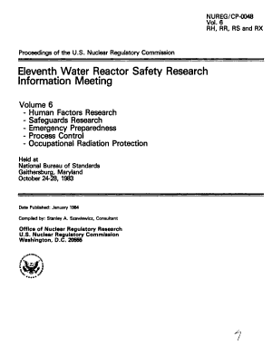 Proceedings of the U S  Nuclear Regulatory Commission Eleventh Water Reactor Safety Research Information Meeting  Held at National Bureau of Standards  Gaithersburg  Maryland  October 24 28  1983  Human factors research  safeguards research  emergency preparedness  process control  occupational radiation protection PDF