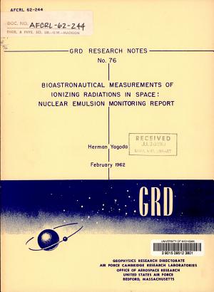 Bioastronautical Measurements of Ionizing Radiations in Space PDF