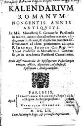 Calendarium Romanum nongentis annis antiquius