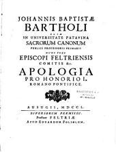 Apologia pro Honorio I., Romano pontifice Johannes Baptist Bartholus