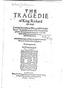 The Tragedie of King Richard the Third