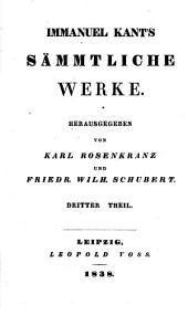 Immanuel Kant's sämmtliche Werke: Bände 3-4