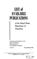 List of Available Publications of the United States Dept  of Agriculture PDF
