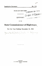 Report of the State Commissioner of Highways