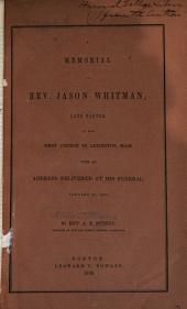 A Memorial of Rev. Jason Whitman, with an Address at His Funeral, Jan 29, 1848
