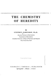 The Chemistry of Heredity