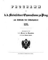 Programm des k k  Gymnasiums auf der Kleinseite in Prag PDF
