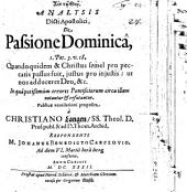 Analysis dicti apostolici de passione dominica, 1 Pet. III, 18. ...
