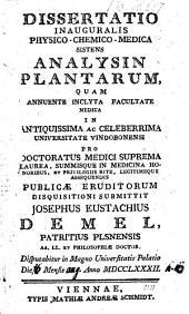 Analysis Plantarum. Diss. inaug. med