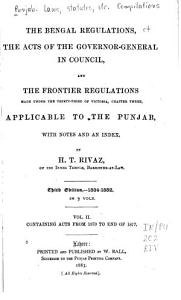 The Bengal Regulationa  the Acts of the Governor general in Council  and the Frontier Regulations     Applicable to the Punjab PDF