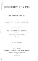 Recollections of a Page at the Court of Louis XVI  PDF