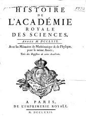 Histoire de l'Académie Royale des Sciences: avec les mémoires de mathématique et de physique pour la même année : tirés des registres de cette Académie. 1769 (1772)