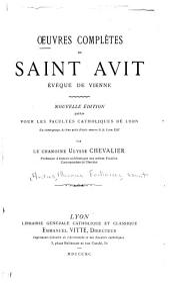 Oeuvres complètes de Saint Avit, évêque de Vienne