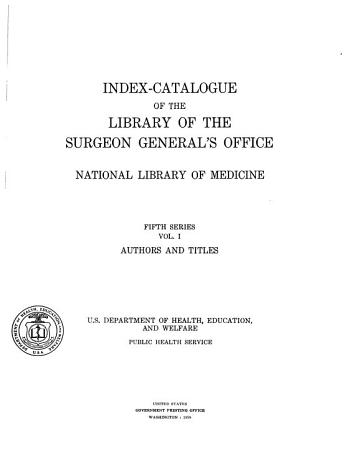 Index catalogue of the Library     PDF