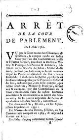 Arret de la Cour de Parlement, du 6 Aout 1761