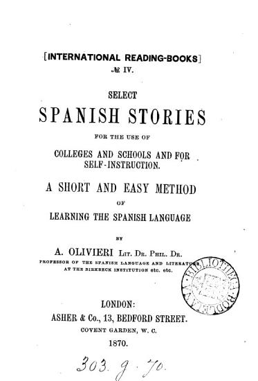 Select Spanish stories   ed   by A  Olivieri PDF