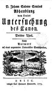D. Joh. Salomo Semlers Abhandlung von freier Untersuchung des Canon: Part 3