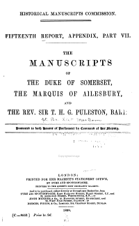 Report of the Royal Commission on Historical Manuscripts