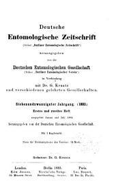 Deutsche entomologische Zeitschrift: Bände 27-28