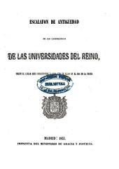 Escalafón de antigüedad de los catedráticos numerarios de las universidades del Reino en...