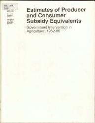 Estimates Of Producer And Consumer Subsidy Equivalents Book PDF