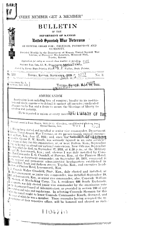 Bulletin of the Department of Kansas  United Spanish War Veterans PDF