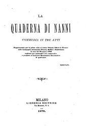 La quaderna di Nanni: commedia in tre atti