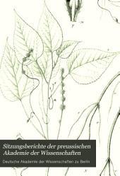 Sitzungsberichte der Preussischen Akademie der Wissenschaften: Teil 1