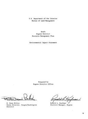 Eugene District Area Resource s  Management Plan  RMP  PDF