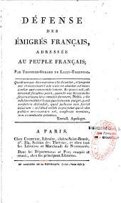 Défense des émigrés français, adressée au peuple français