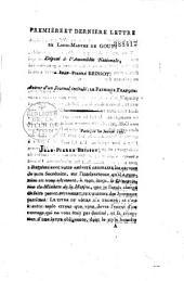 Première et dernière lettre de Louis-Marthe de Gouy, député à l'Assemblée nationale, à Jean-Pierre Brissot auteur d'un journal intitulé : Le Patriote François [10 janvier 1791]