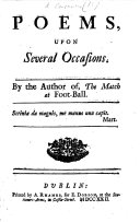Poems upon Several Occasions. By the author of, the Match at Football (Mat. Concanen).
