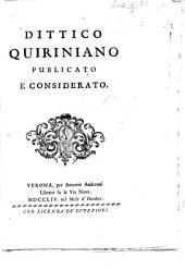 Dittico Quiriniano publicato e considerato