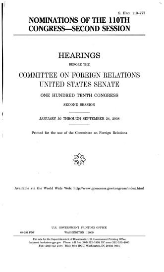 Nominations of the 110th Congress  Second Session PDF